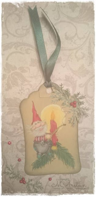 Merethes Kreative Boble: Christmas tag in traditional colors
