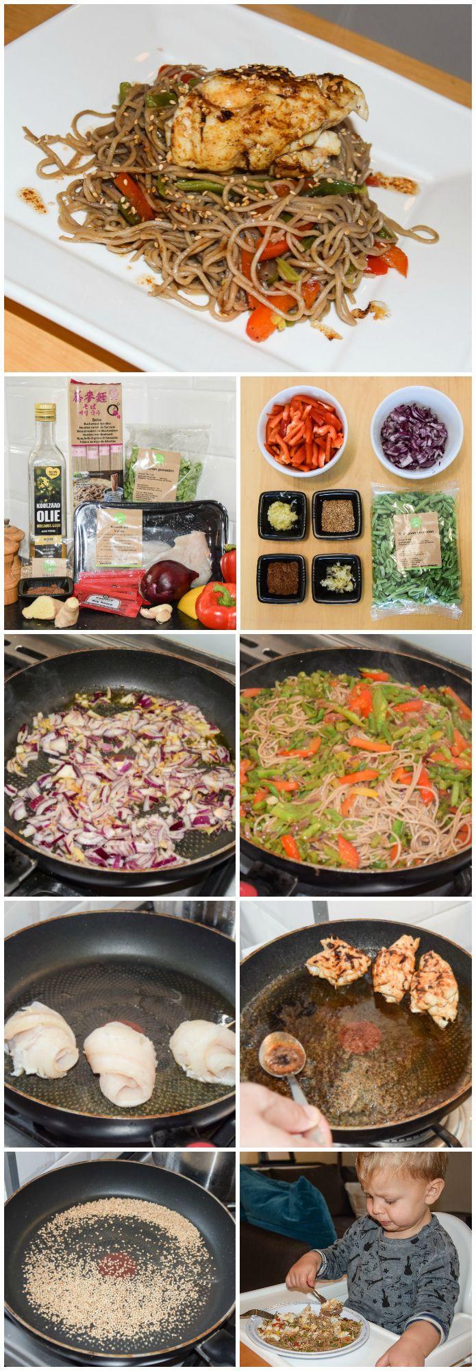 Lekker kindvriendelijk gerecht met veel groente! Noedels met snijbonen en paprika.