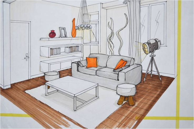 Perspective Dessin Salon : Perspective points fuites intérieur exemple dessin