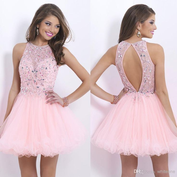 Cheap Homecoming Dresses - Discount Crew Neck Sleeveless Short Homecoming Party Dress Beaded Online