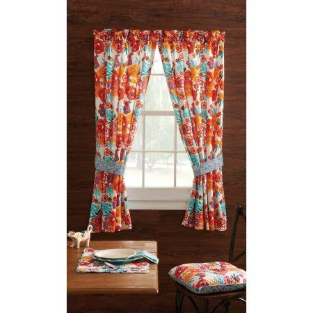 Pioneer Woman Kitchen Curtain and Valance 2pc Set, Flea Market - Walmart.com
