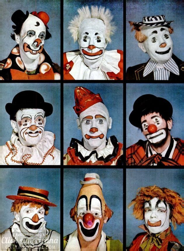 Clowns: Makeup an artistic expression (1949) | Circus clowns
