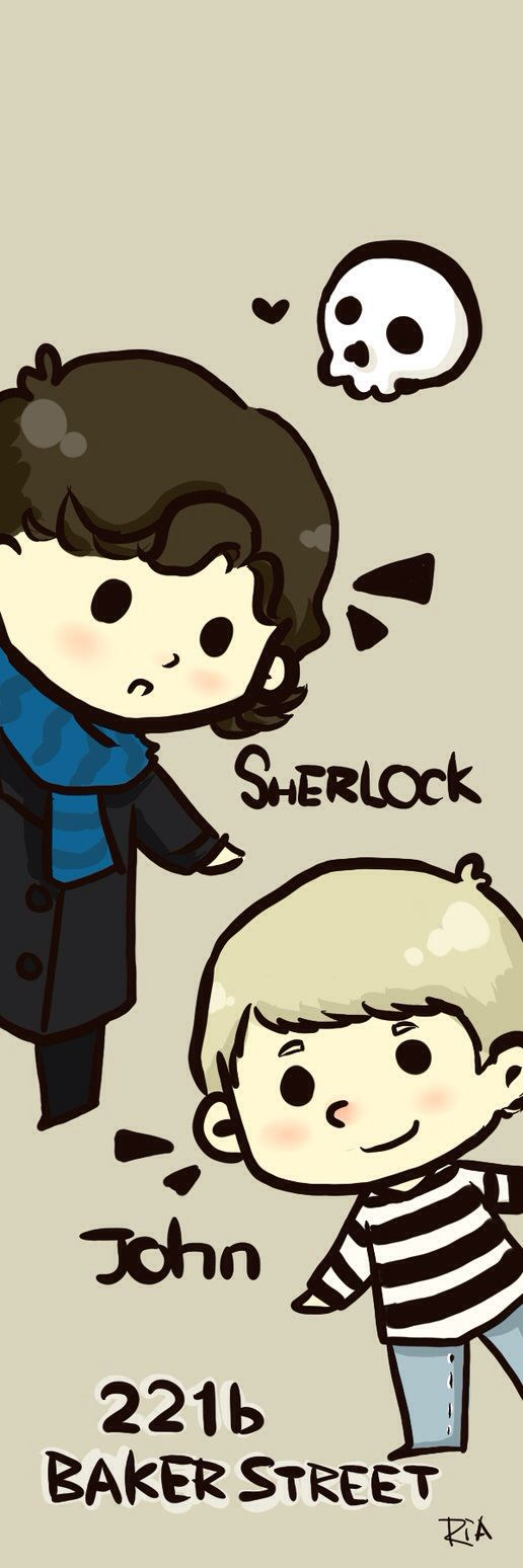 Cute Cartoon Sherlock And John 221b Baker Street
