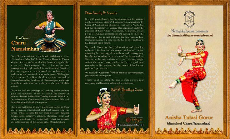 design studio brochure - bharatanatyam arangetram tri fold brochure outside by