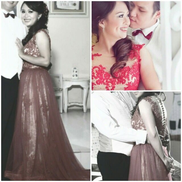 """Sweet Romance"" Haryanto & Meisien Engagement Photos. Red Lace over Nude Long Dress with Tule Skirt, Illusion Neckline and Lace Appliqué by @nadia_ivy"