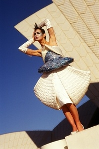 Opera House and Harbour Bridge dresses designed by Yvette Young for HSC Art project, modelled by Rhia ... at Sydney Opera House, 1984 / photographed by Patrick Jones Photographic Studio
