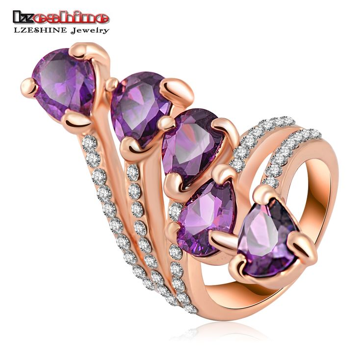 LZESHINE Antique Ring Rose Gold Plate Flower Rings Jewelry Women Ring With Purple Austrian Crystal SWA Element 23*35mm Ri-HQ0226