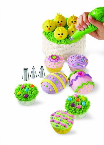 Wilton Easter cupcake decoration kit - includes tips and piping bags. Make cute and tasty treats this Easter.