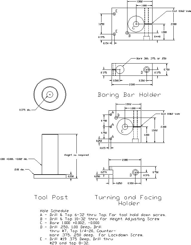 Drawings of tool post