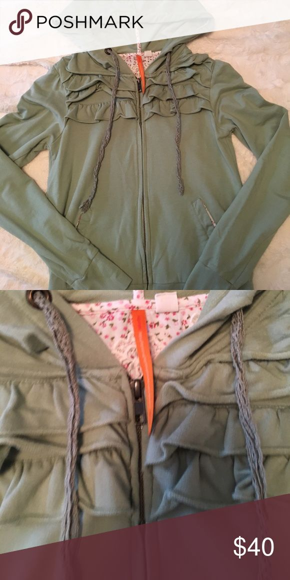Anthro Ruffle Detail Zip-Up Hoodie, Size XS Pretty feminine hoodie with Ruffle and floral detailing. Gorgeous mint green color. Ties are crocheted for extra detailing! Only worn a few times, in perfect condition! Anthropologie Tops Sweatshirts & Hoodies