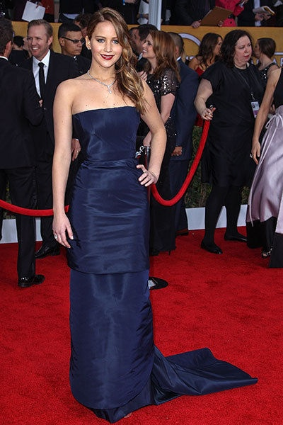 Jennifer Lawrence may have had walking pnemonia at the 2013 SAG Awards - but she still radiated simple elegance in this strapless navy Dior Haute Couture, a Roger Vivier clutch and many, many carats of Chopard diamonds.