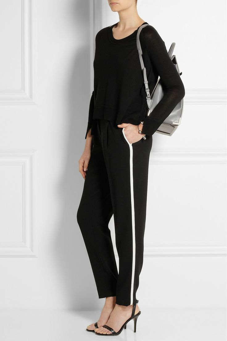 Alexander Wang | Mesh-trimmed wool-blend sweater | NET-A-PORTER