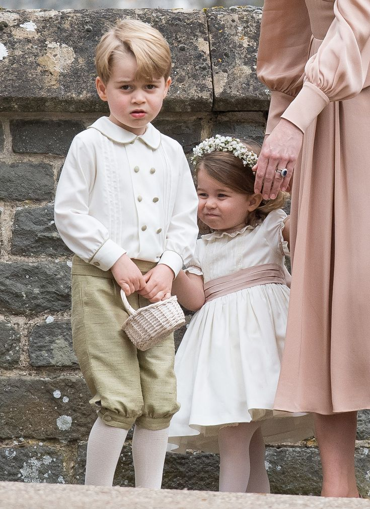 20 May 2017 - Prince George and Princess Charlotte of Cambridge looking a bit hesitant at wedding of Aunt Pippa Middleton and JamesMatthews
