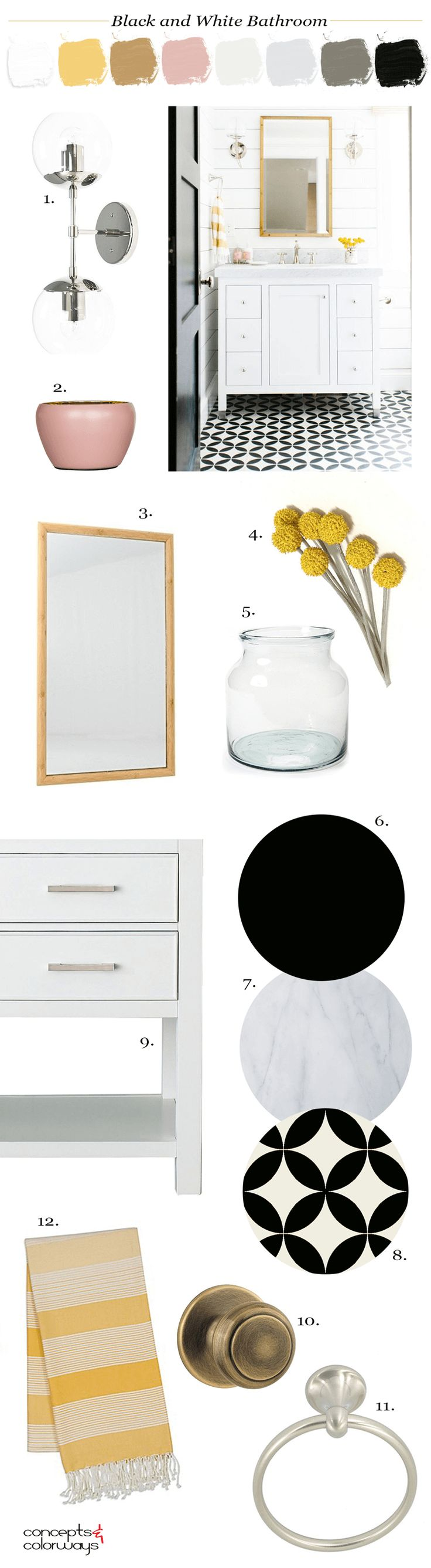 black and white bathroom, black and white tile, black door, pink and yellow, white marble, white shiplap, yellow flowers, white vanity cabinet, glass globe wall sconce, blush pink, bamboo mirror, yellow striped towels, towel ring, ochre, black and white, bright yellow, pantone harbor mist
