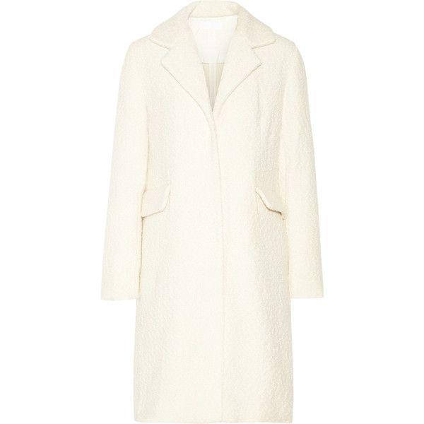 Co - Bouclé-tweed Coat (£545) ❤ liked on Polyvore featuring outerwear, coats, верхняя одежда, ivory, boucle coat, ivory coat, white winter coat, tweed coats and tweed wool coat