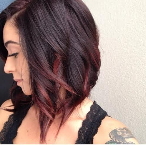 """""""LOB"""" with Curls and Hints of Red Everything about this look is downright stunning and romantic. From the dark roots leading to hints of seductive deep red, to the lovely and simple curls that add a touch of elegance. Great Hairstyle For Valentine's Day!"""