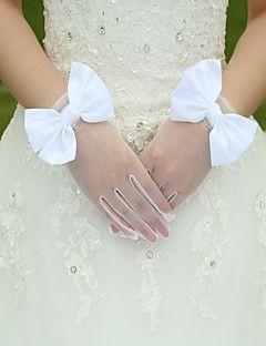 Csukló Ujjbegy Kesztyű Selyem Elasztikus szatén Menyasszonyi kesztyűk Tavasz Nyár Ősz Tél