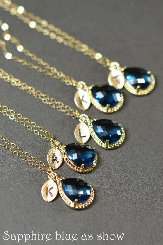 Sapphire blue gold necklace for bridesmaids