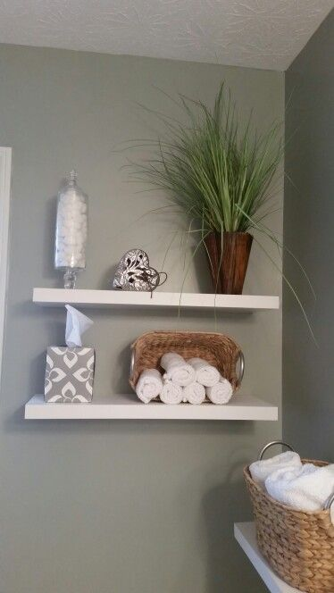 Love The Floating Shelves In My Spa Themed Bathroom Lowe S Had The Best Prices