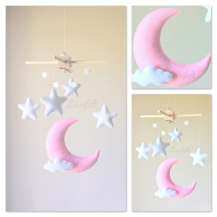 Baby mobile - moon mobile - moon stars mobile - pink and white nursery by lovefeltmobiles on Etsy https://www.etsy.com/listing/286583331/baby-mobile-moon-mobile-moon-stars