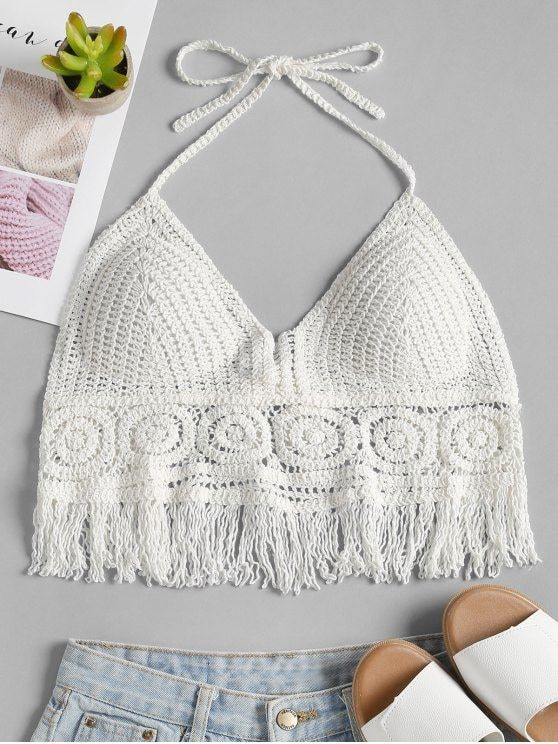 159b16e97e2ac Padded Crochet Bralette Crop Top - WHITE ONE SIZE