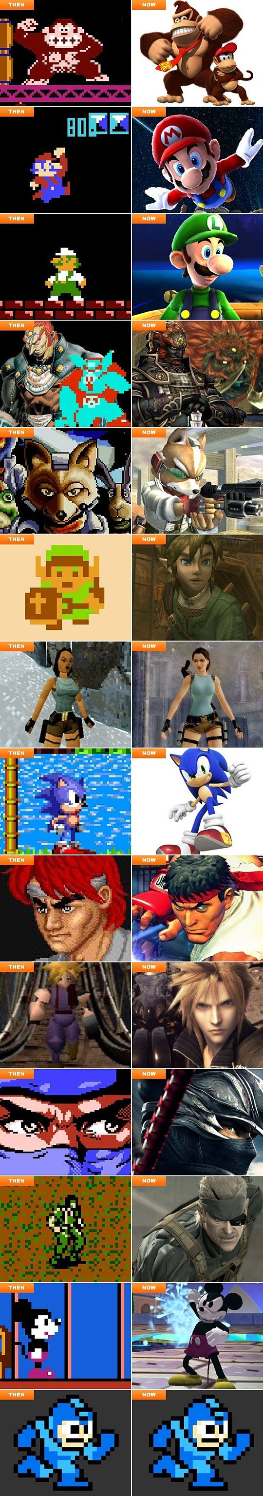 Video game characters then and now. You know that some of these are only a decade apart from each other? Less? FF7 came out in 97. Advent Children came out in... 06', I think? Amazing how far things can come in so little time.