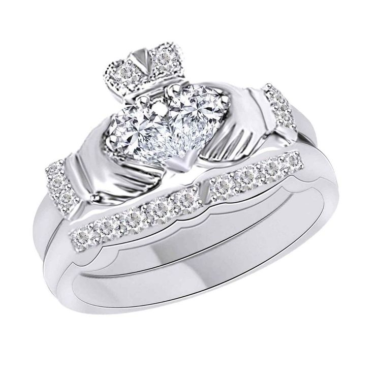 14k Solid White Gold 0.65CT D/VVS1 Claddagh Engagement Ring Set + FREE STUD GIFT
