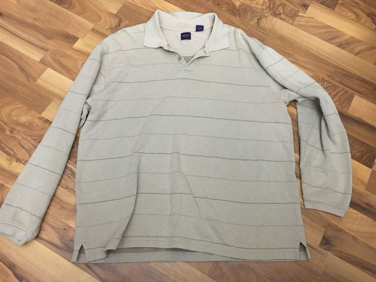 Mens Size XL Tan Striped Classic Golf Style Long Sleeve Polo Shirt #Arrow #PoloRugby