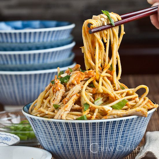 Peanut Sesame Noodles with Sriracha. Shredded zucchini instead of cucumber, crunchy pb. Quick, easy and delicious!!