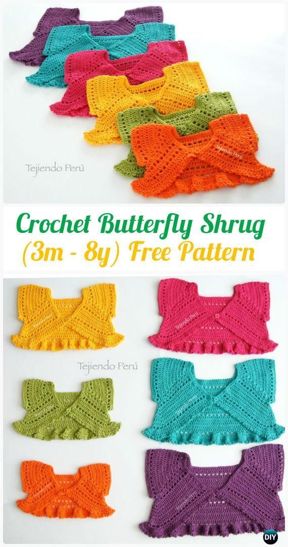 Crochet Butterfly Shrug (3m - 8y) Free Pattern - Crochet Kid's Sweater Coat Free Patterns