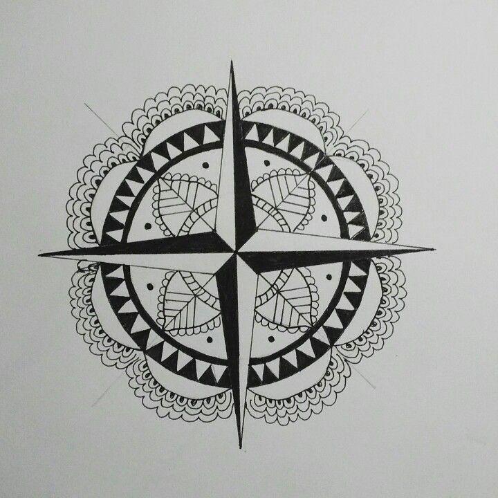 Rosa dos ventos by: Thailita Araújo  #tattoo #drawing #draw #mandala #rosadosventos #sketch #tatuagem