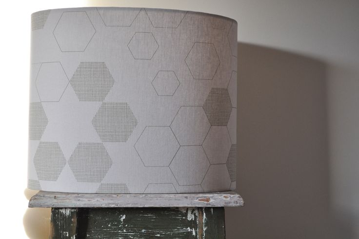 'honeycomb' (table) Lampshade (C1) - hand printed on eco fabric with water-based inks. To find out and more and to purchase my products visit www.pinchriver.co... (formerly stilelemente) - All designs are copyright Pinch River / Gabriella Tagliapietra