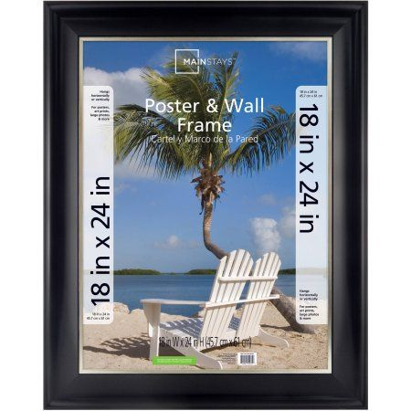 mainstays 18x24 2 tone poster frame black with champagne multicolor