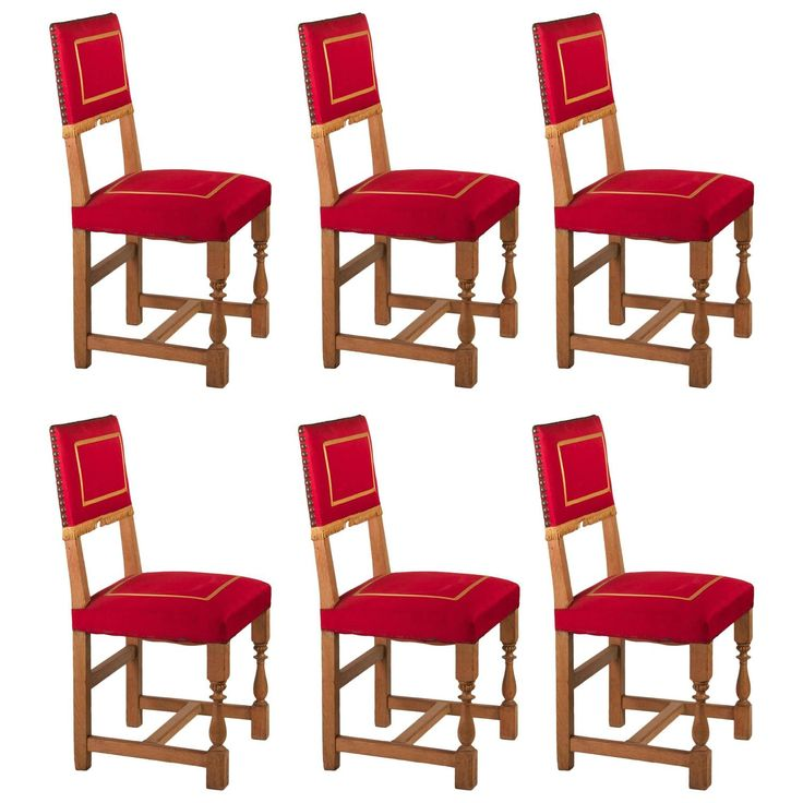 15k French 1940s Set of Six Oak Dining Chairs with Original Upholstery   From a unique collection of antique and modern dining room chairs at https://www.1stdibs.com/furniture/seating/dining-room-chairs/
