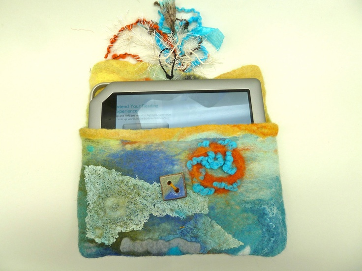 Wet Felted  Blues and Multicolors Kindle or Nook Jacket or Clutch. $55,00, via Etsy.