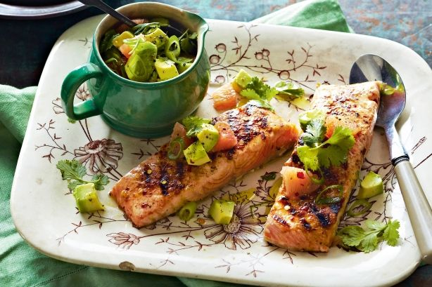 Pretty in pink and green, this is delicious as is or add jacket potatoes for a heartier meal.