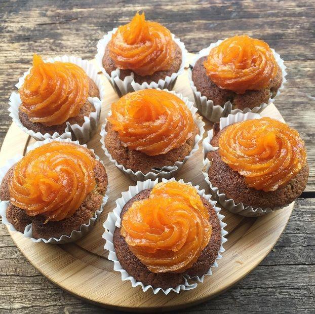 Banana Muffins w/ Housemade Apricot Ganache are soooo light & fluffy