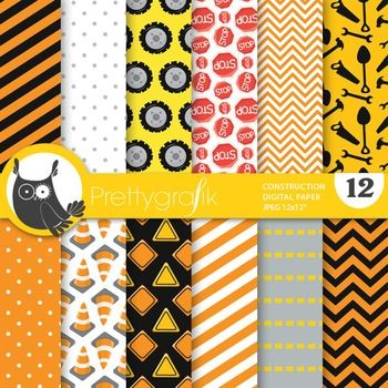 Construction digital papers are the perfect match to our construction kids clipart. This pack includes tires, stop signs, chevron, stripes, road signs and much more! These papers can be used for invitations, cards, parties, scrapbooking and more. The perfect papers for