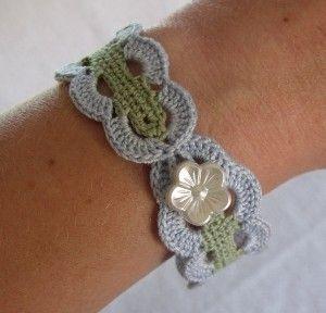 -Vintage Inspired Crochet Bracelet in Blue and Green