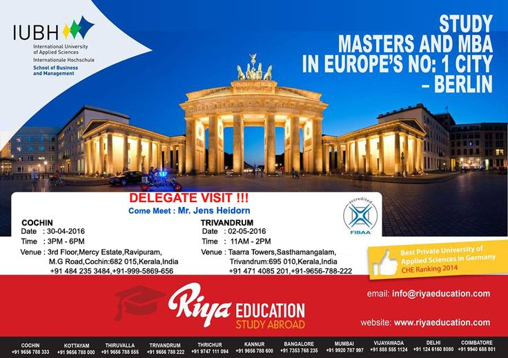 Want to study abroad? Germany is one of the best options you have. To know more do come and meet the delegate from IUBH, Germany and open a way for a new bright future. The delegate visit arranged by Riya Education, study abroad consultants will take place in Cochin and Trivandrum in Kerala, India.