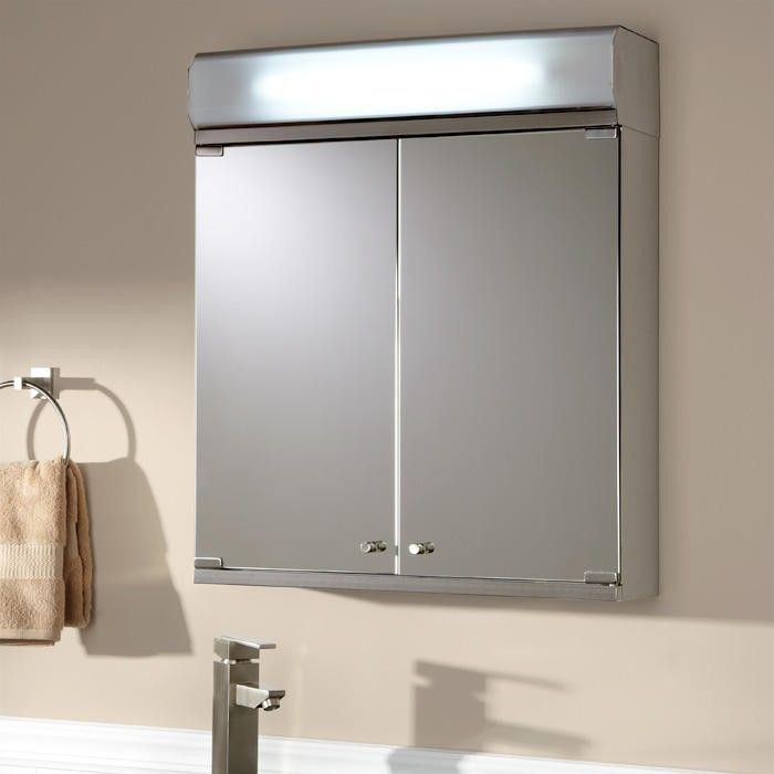 delview stainless steel lighted medicine cabinet with