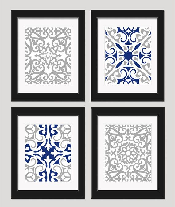 Navy Blue Silver Grey Art Set of 4  8x10 Prints by inkandnectar, $45.00