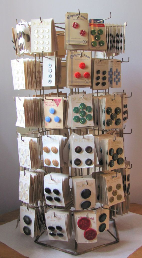Buttons and old display cart - my mother used to buy these all the time from the dime store.