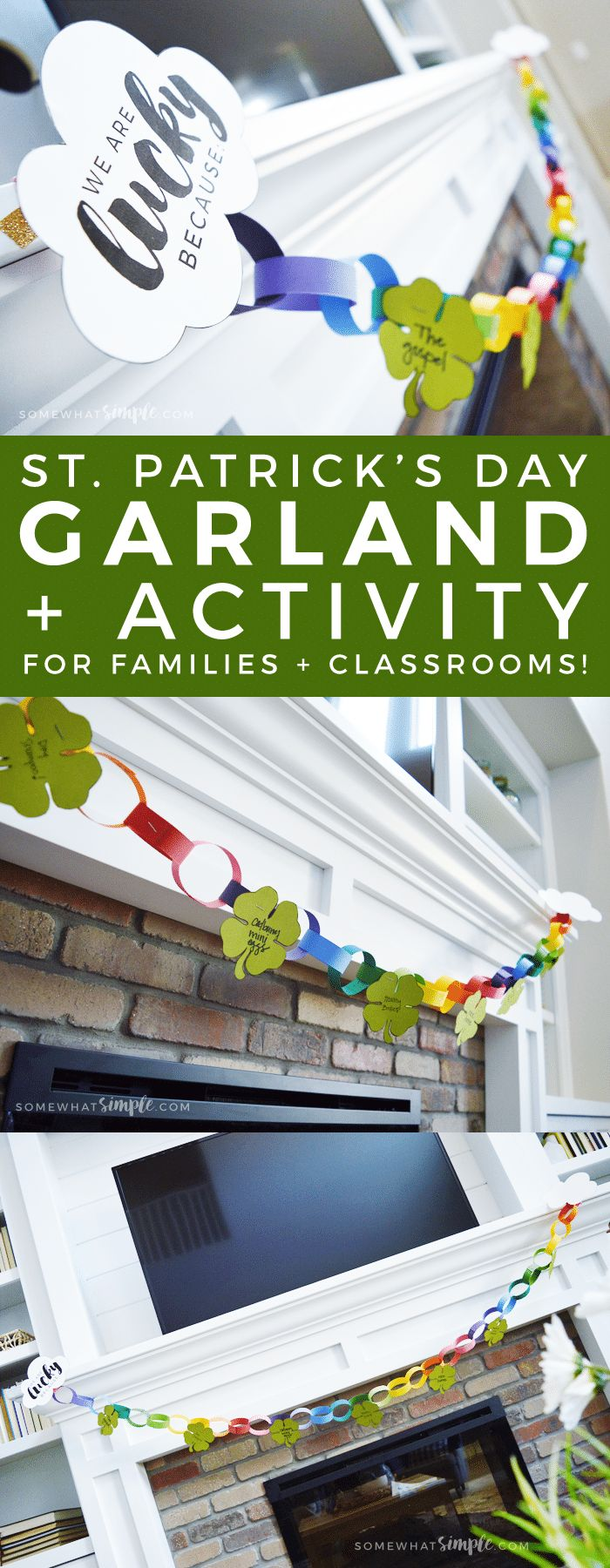 St. Patrick's Day Garland | Looking for a great St. Patrick's Day activity for your family or class? Then you're going to love this colorful + meaningful St. Patrick's Day Garland!