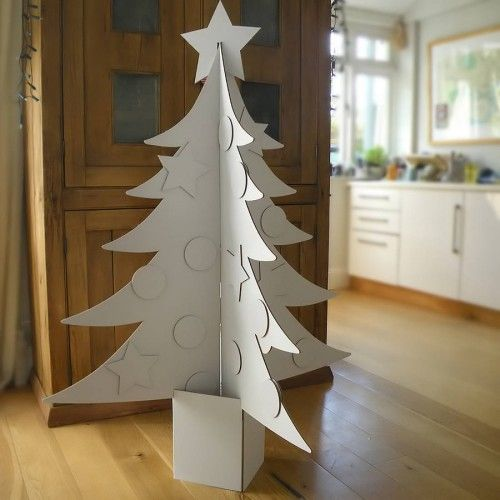 Giant Cardboard Christmas Tree made from FSC approved pulp for a pre-Christmas craft project for the whole family.