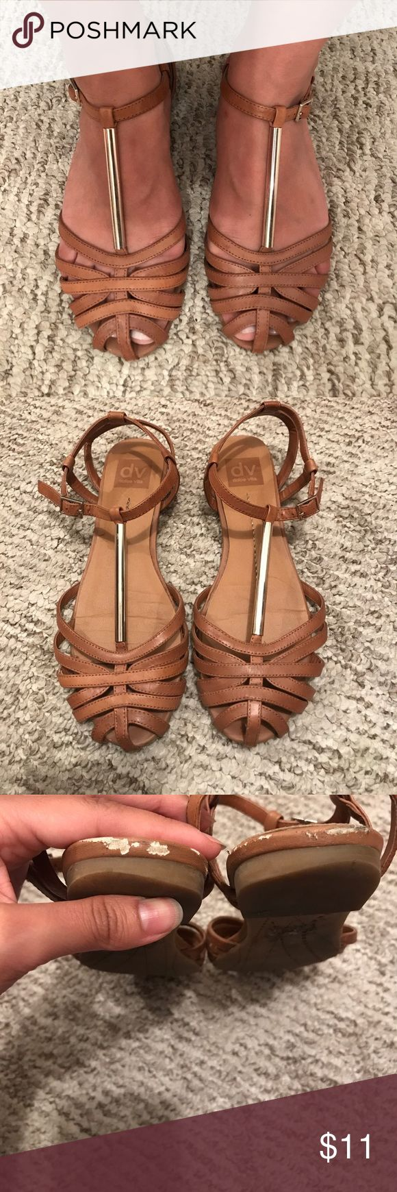 🚩DONATING 9/30 🚩 Dolce vita caged camel sandals Super cute mod/retro style sandal. Previously loved. In used condition as seen in photos. Price reflects this. True to size. Donating these if don't sell in a month - (donating on 9/30/17) DV by Dolce Vita Shoes Sandals