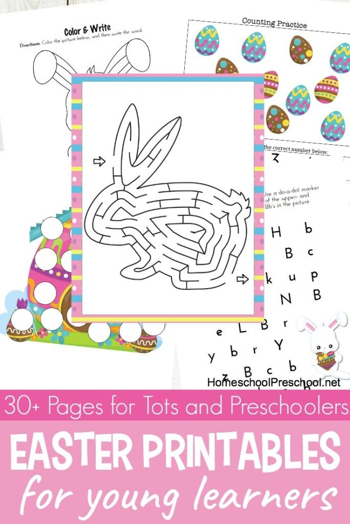 Easter is just around the corner, and there is no better way to get your preschoolers in the mood than with these printable Easter activities for tots and preschoolers. #homeschoolprek #preschool #prek #homeschooling #easteractivities #preschooleaster #easterprintables   https://homeschoolpreschool.net/easter-tot-preschool-pack/