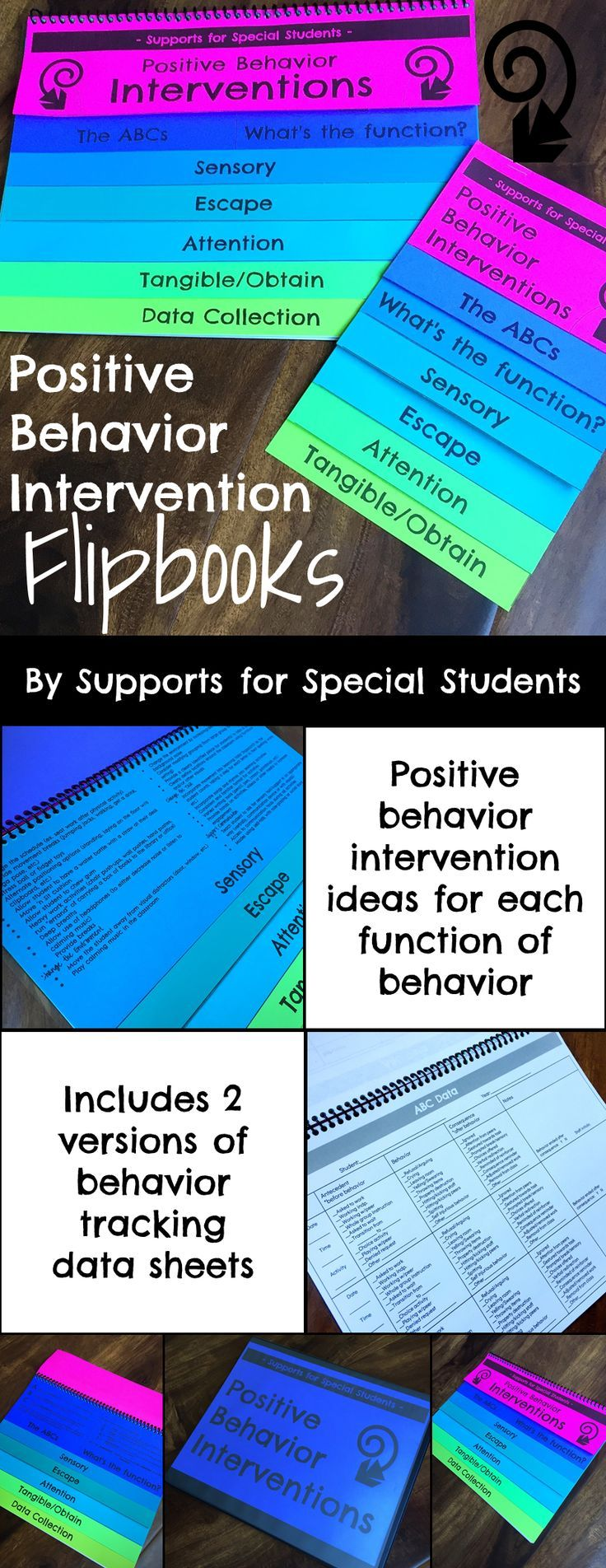 This flipbook is packed full of easy to implement positive behavior supports and interventions! You will find a brief overview of the ABC's (antecedent - behavior - consequence), how to determine the function of behavior, and specific intervention to address each function (sensory, escape, attention, and tangible/obtain).   There are 2 versions of the flipbook included in this download.   Version 1 is a half page version that provides quick access to intervention ideas. It is perfect for…