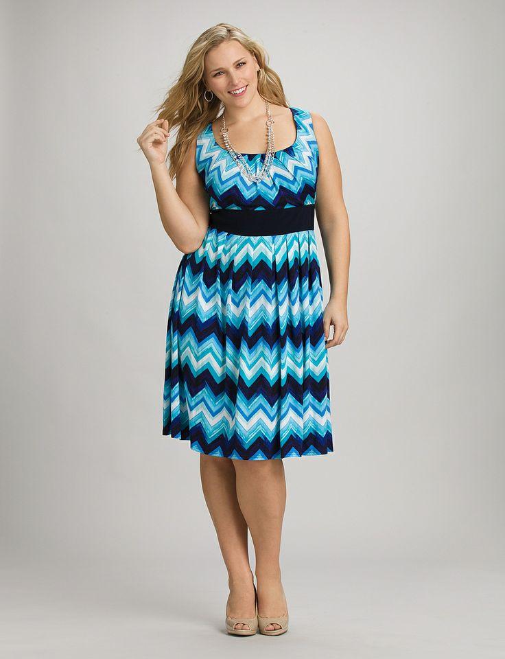 Plus Size | Dresses | Casual Dresses | Plus Size Blue Chevron Jacket Dress | dressbarn