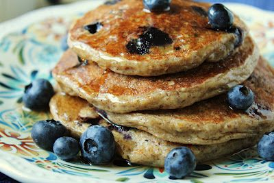 Oatmeal Cottage Cheese Pancakes.  3 whole eggs, 1 cup cottage cheese, 3/4 cup oats, 1/2 tsp cinnamon,  1 tsp vanilla, 1/2 tsp baking powder, 1/4 tsp salt.  Blend all ingredients in blender and cook on griddle as you would cook any pancake...makes 8.  Original recipe calls for flax meal and blueberries.